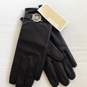 Michael Michael Kors Black Leather Gloves